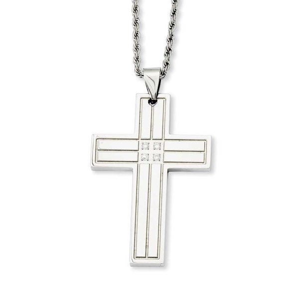 Stainless Steel Polished Cross with CZs Pendant 24in Necklace (2 mm) - 24 in