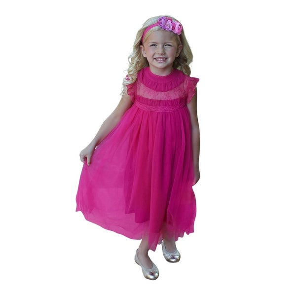 Think Pink Bows Baby Girls Pink Yallow Lace Adrianna Flower Girl Dress 1Y