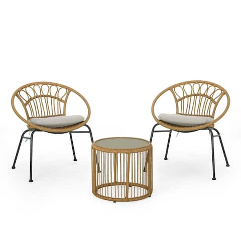 Speakes Outdoor Faux Wicker Chat Set by Christopher Knight Home