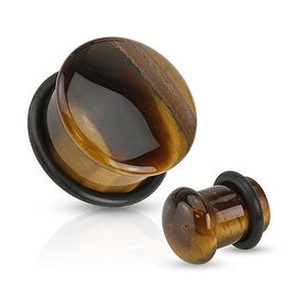 Tiger Eye Semi Precious Stone Domed Single Flare Plug with O-Ring (Sold Individually)