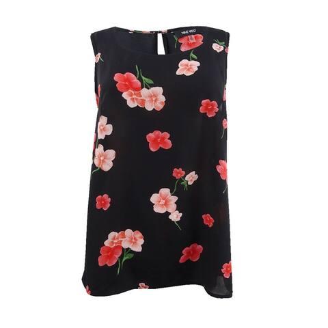 Nine West Women's Plus Size Floral-Print Top - Black/Cinnamon Multi