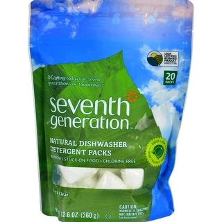 Seventh Generation Automatic Dishwasher Detergent Packs, Free and Clear - (Case of 12 - 20 Ct)