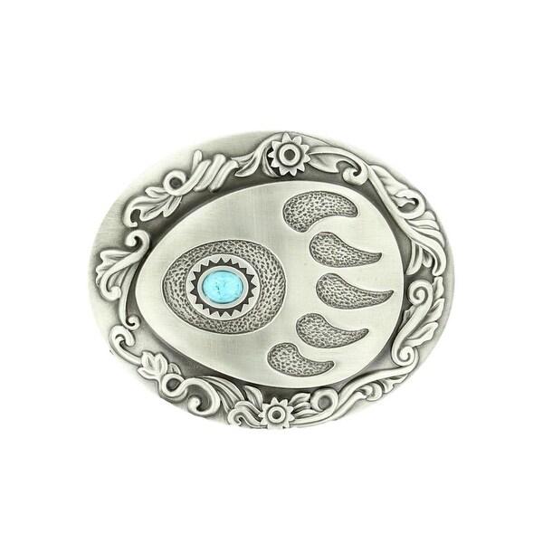 Nocona Western Belt Buckle Stone Bear Paw Silver Turquoise - 3 1/4 x 4 3/4