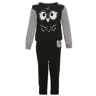 Little Girls Black Gray Owl Print Long Sleeve Top Soft 2 Pc Pajamas Set 4
