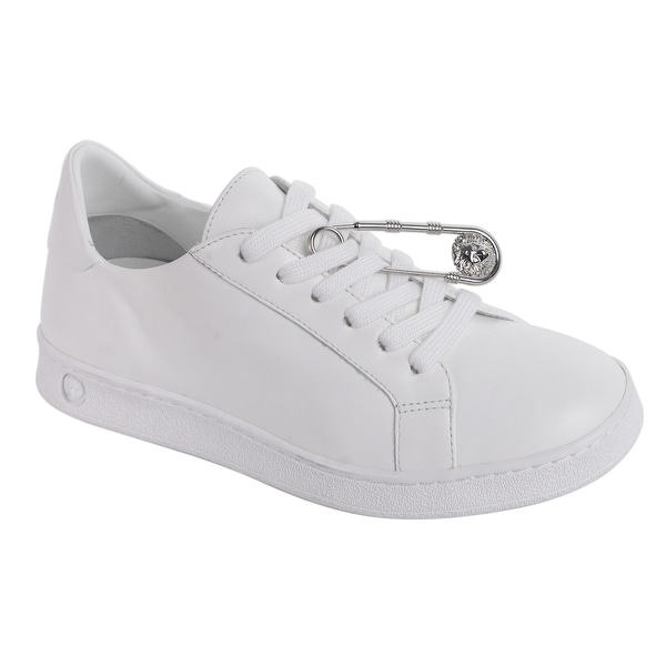 0eef484c1b81 Shop Versus Versace Womens White Leather Safety Pin Lace Up Sneakers ...