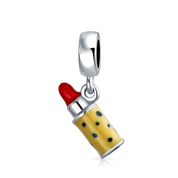 7b08daf0171d4 Cosmetic Makeup Leopard Case Red Lipstick Charm Bead For Women For Teens  925 Sterling Silver Fits European Bracelet