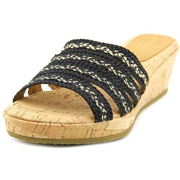 Eric Javits New York Squish Women N/S Open Toe Canvas Black Wedge Sandal