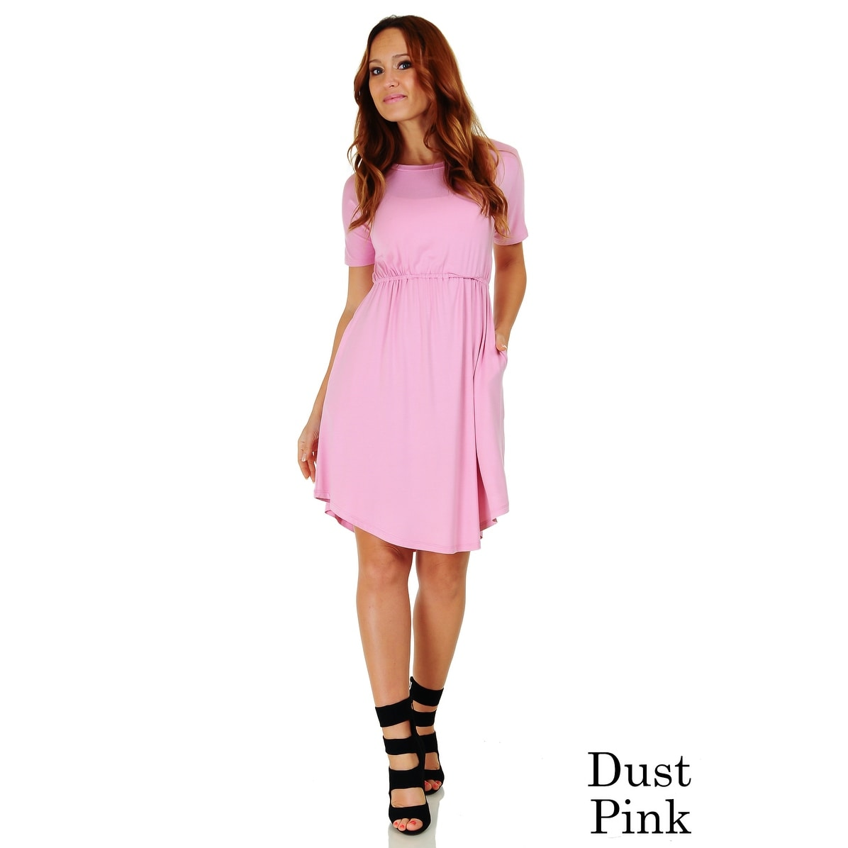 Simply Ravishing Women\u0027s Short Sleeve Casual Knee Length Blouson Dress  (Size S,3X)