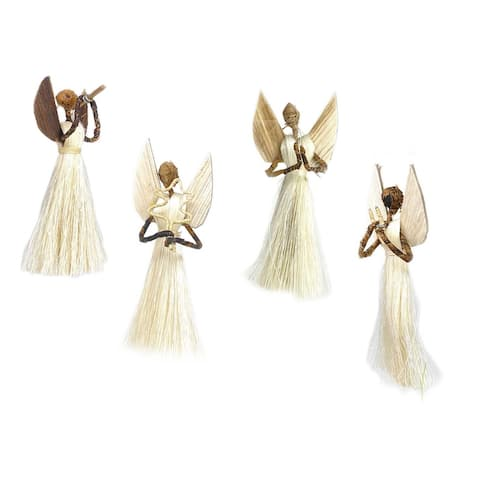 Handmade Sisal Angel Ornaments, Set of 4