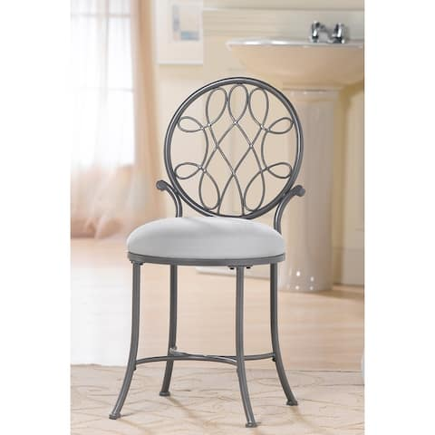 Copper Grove Anguilla Cushioned Vanity Stool with Metal Scrollwork Back