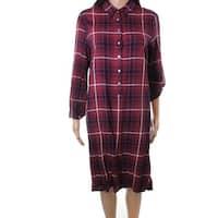 Max Studio Women's Plaid Print Button Shirt Dress