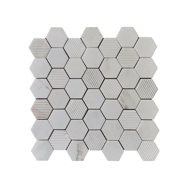 Carrara Marble Mosaic Decorative Backsplash Tile 12 X 12 X 0 38 Pc Overstock 31320821