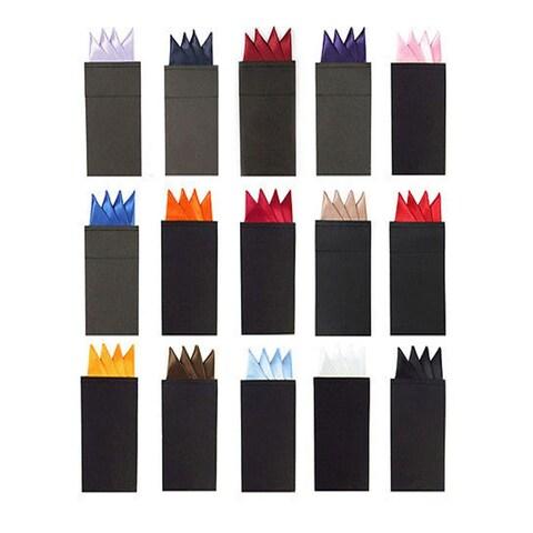 Men's Solid Color 4 Point Pre Folded Silk Pocket Squares on Card - regular