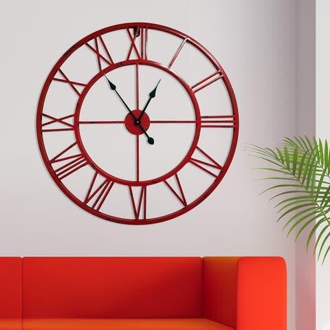 Walplus Minimalist Large Roman Black Silver Gold Red Metal Iron Wall Clock
