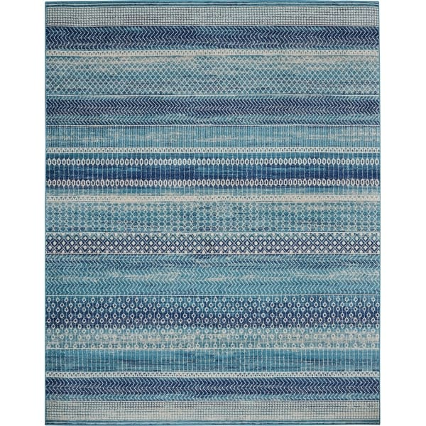 Nourison Passion Indigo Blue Beach Striped Area Rug On Sale Overstock 30873402