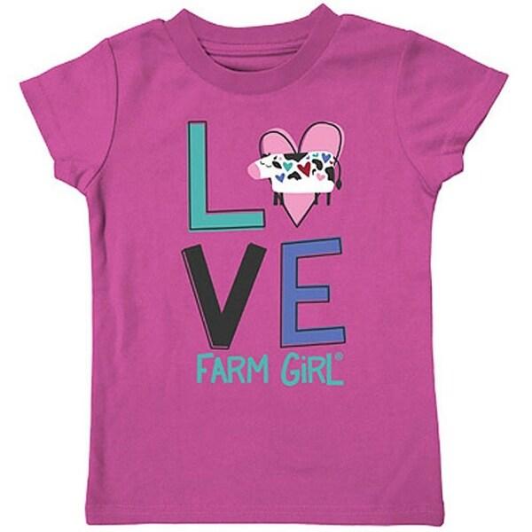 Farm Girl Western Shirt Girls Printed Love Cow S/S Pink