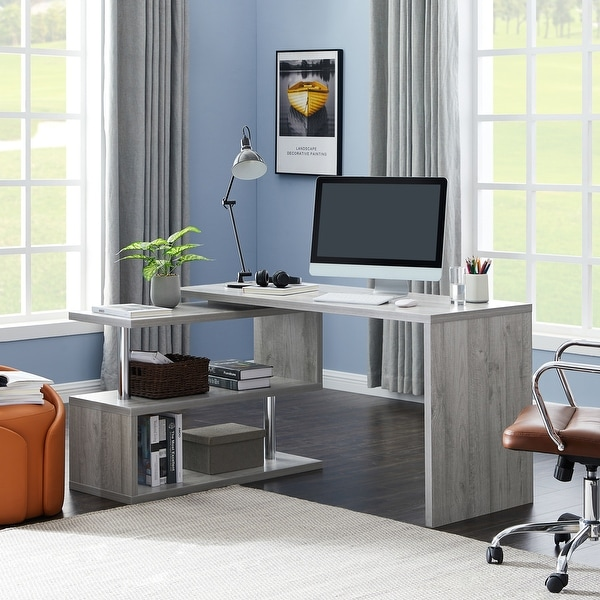 Contemporary Convertible L-shaped Corner Computer Office Desk 29.53'' H x 23.23'' W x 78.74'' D - Grey. Opens flyout.