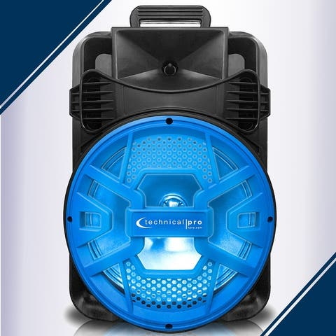 Technical Pro 2000 Watts 20 Inch Bluetooth LED Speaker with Blue Grill and Microphonewith with USB/SD Card Inputs & FM Radio