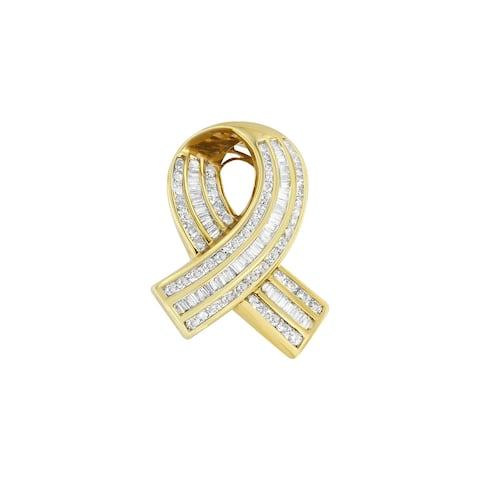 "14K Yellow Gold 2 5/8 cttw Channel Set White Diamond Awareness Ribbon 18"" Pendant Necklace (G-H Color, VS1-VS2 Clarity)"
