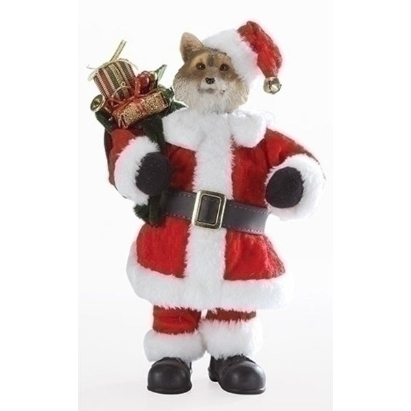 """10"""" Red and White Christmas Santa Fox with Satchel Tabletop"""
