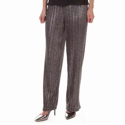 LIpsy London Silver Womens Size 10 Metallic Plisse Dress Pants