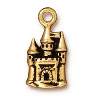 TierraCast 22K Gold Plated Pewter Fairy Castle Charm 21mm (1)