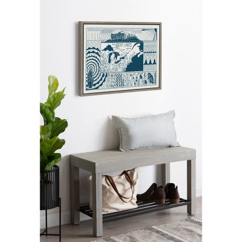 Kate and Laurel Sylvie Great Lakes Framed Canvas by Erin Anderson-Ruddon