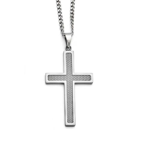 Chisel Stainless Steel Polished Grey Carbon Fiber Large Cross Necklace (3 mm) - 20 in
