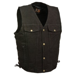 Mens Denim Side Lace Vest with Chest Pockets