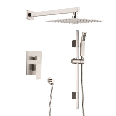 Rain Mixer Wall Mounted Shower Hand Shower System with 10 inch. - 12*15.6