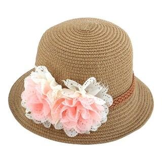 Lady Travel Straw Braided Flowers Decor Summer Beach Sun Bucket Hat Sunhat Khaki
