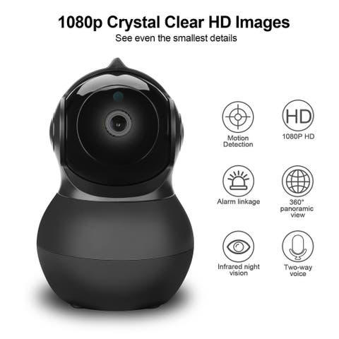 AGPtek Wireless Security WIFI Cameras For Home Baby Monitor 360 1080P HD Pan/Tilt/Zoom IP Surveillance System - M