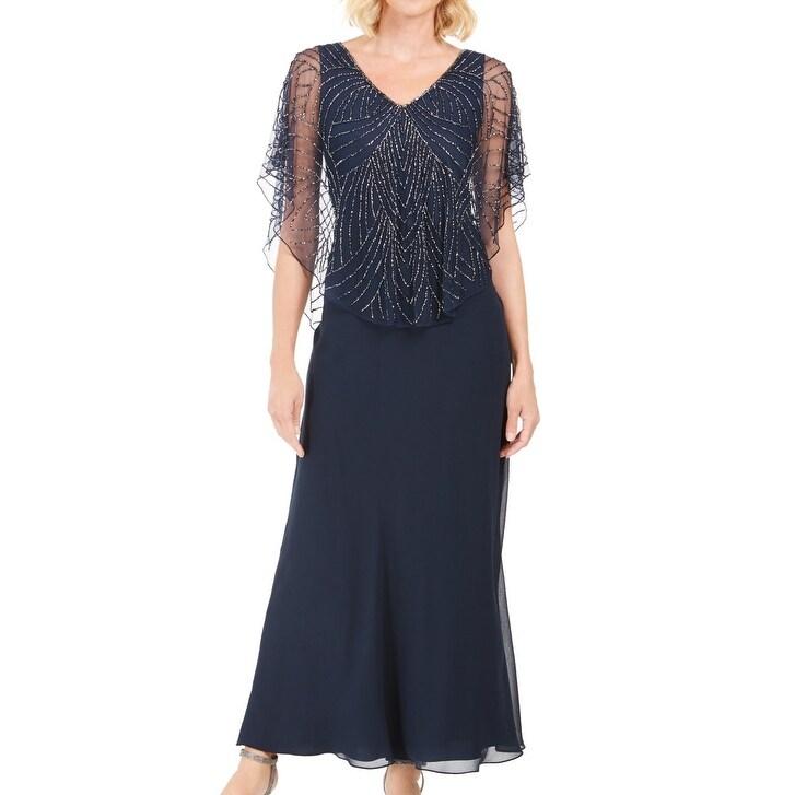J Kara Womens Dress Midnight Blue Size 16 Beaded Detail Contrast Gown