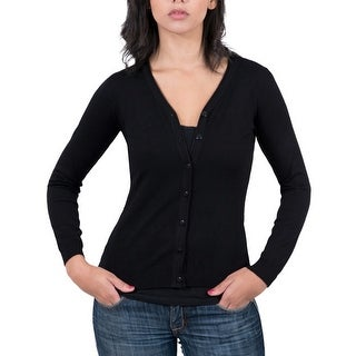 Real Cashmere Black v-neck Cardigan Womens Sweater