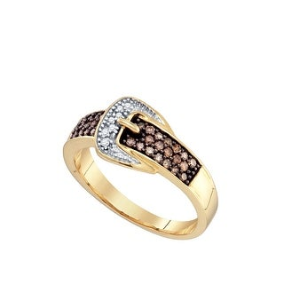 10k Yellow Gold Cognac-brown Colored Natural Diamond Belt Buckle Band Ring 1/4 Cttw - Brown/White
