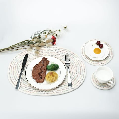 """3 in 1 Cotton Oval/Round Thread Weave Heat Resistant Placemats - 4"""" Dia +7"""" Dia +16""""x12""""(L*W)"""