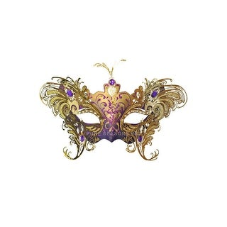 Pure Seasons Farfalla Metallo Masquerade Mask (Purple/Gold) - Purple/Gold