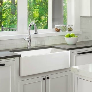 Fireclay Sink, Single Bowl Farmhouse Apron Kitchen Sink, White, 33""