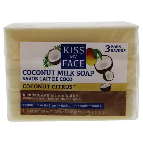 Pure Coconut Milk Bar Soap By Kiss My Face For Unisex - 3 X 3 5 Oz Soap
