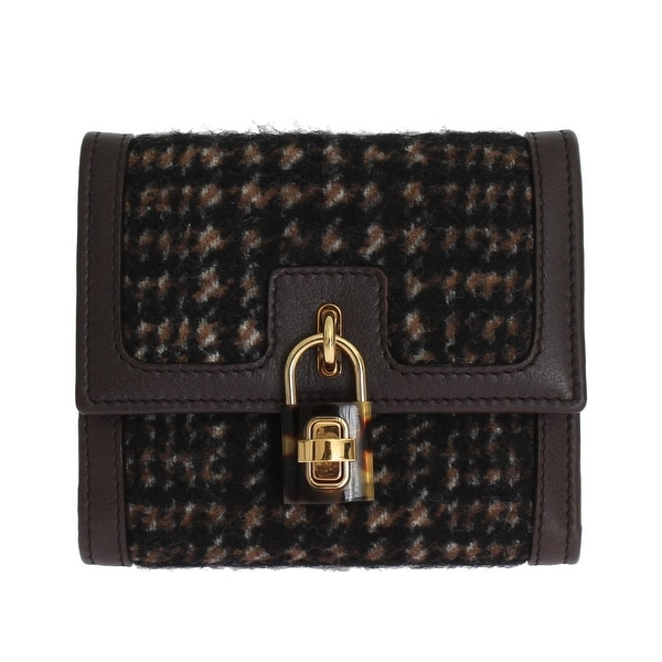 Dolce & Gabbana Brown Leather Gold Padlock Trifold Wallet - One size