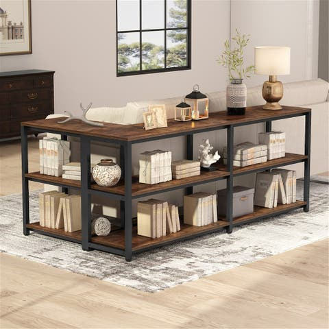 70.9 inches Extra Long Console Sofa Table Behind Couch - Rustic-brown