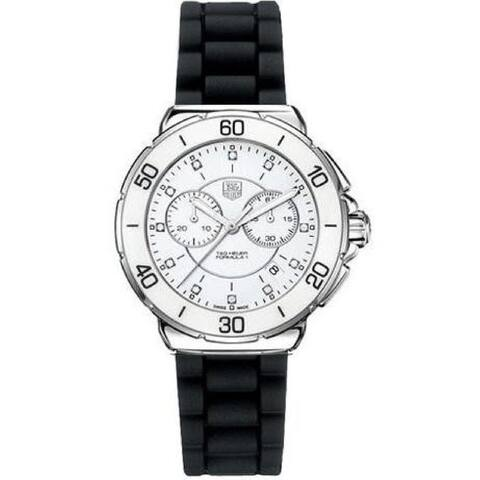 Tag Heuer Women's CAH1211.BT0705 'Formula 1' Diamond, Chronograph Black Rubber Watch - White