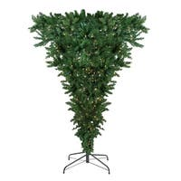 "7.5' x 60"" Pre-Lit Upside Down Spruce Artificial Christmas Tree - Clear Lights - green"
