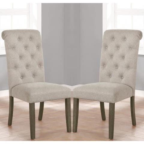 Rolled Back Button Tufted Design Beige Dining Chairs (Set Of 2)