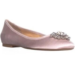 Badgley Mischka Bianca Rhinestone Ballet Flats, Light Pink