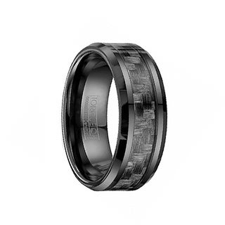 Beveled Black Ceramic Wedding Ring With Black Carbon Fiber Inlay by Crown Ring - 8mm