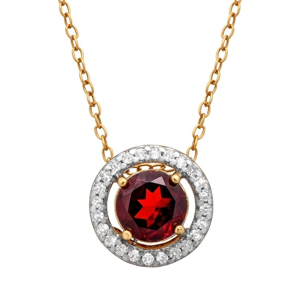7/8 ct Garnet & 1/6 ct White Topaz Pendant in 14K Gold-Plated Sterling Silver - Red