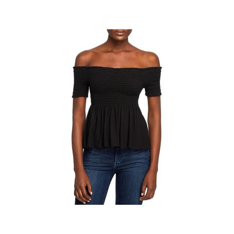 Michelle by Comune Womens Knit Top Smocked Off-The-Shoulder - XS