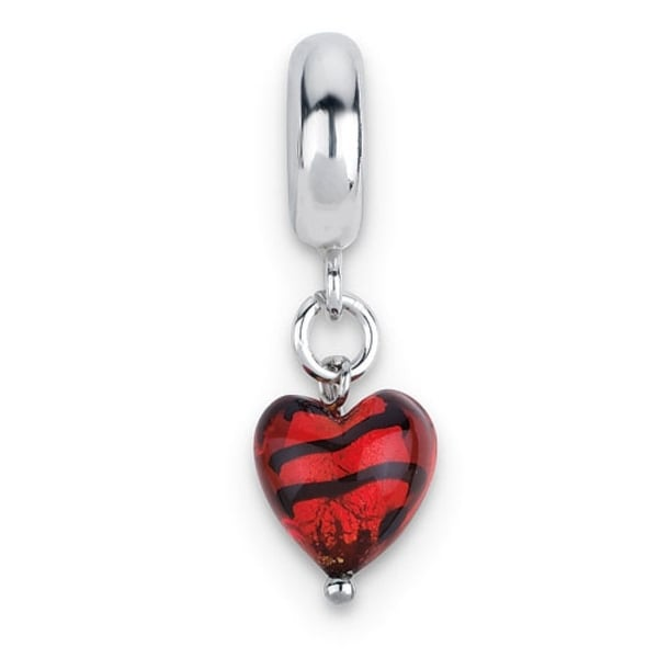 Italian Sterling Silver Reflections Red with Stripes Heart Dangle Bead (4mm Diameter Hole)