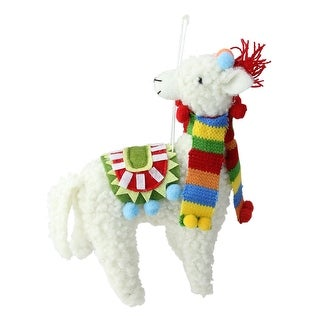 7 Bohemian Multicolor Plush Llama with Scarf Christmas Ornament